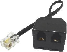 RJ10 Double Adaptor With Flylead (RJ10 Male on lead to 2 RJ10 Female)