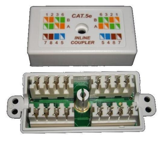 CAT5e Hard Wired Inline Coupler-White