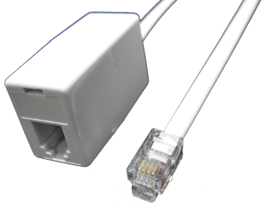 RJ10 Extension Lead (RJ10 Male to RJ10 Female), WHITE, 6M FLAT CABLE