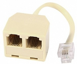 RJ11 Double Adaptor/Splitter With Flylead (RJ11 Male to 2 RJ11 Female)